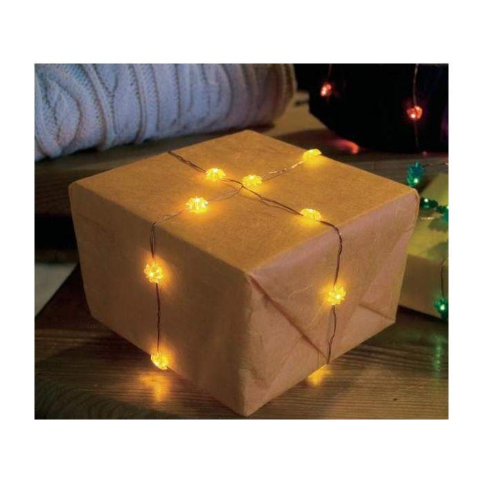 Konstsmide lichtsnoer 20 gele LED sterretjes op batterij 1269-000